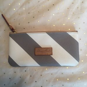 Dooney & Burke grey & white striped leather pouch